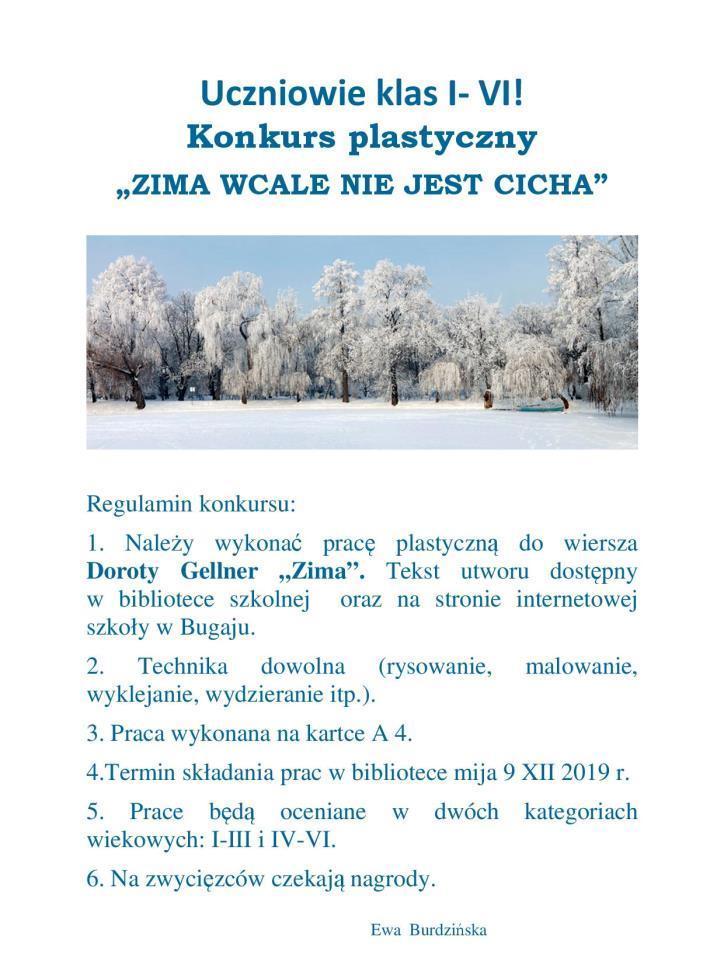 Konkurs Plastyczny Dla Uczniów Klas I Vi Zima Wcale Nie